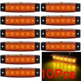 10pcs 12V 24V 6 LED Side Marker Indicators Lights Lamp for Car Truck Trailer Lorry Amber Yellow Clearance Lamp Bus 24V
