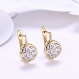 Vintage Flower Gold-Color Cubic Zirconia Circle Hoop Earrings Fashionable Women Jewelry Gift for Women  White/Gold-color