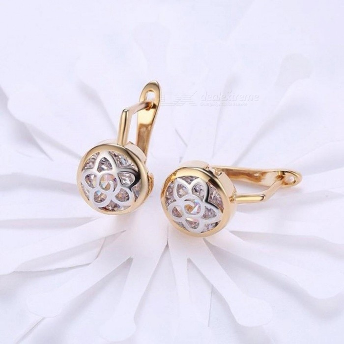 Vintage Flower Gold-Color Cubic Zirconia Circle Hoop Earrings Fashionable Women Jewelry Gift for Women