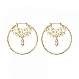 Gold Color Big Circle Round Hoop Earrings for Woman Boho Water Geometric Earring Party Jewelry Bohemian Accessories EJCS809