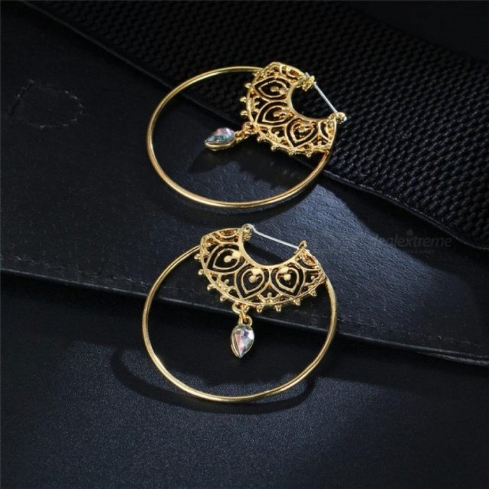 Gold Color Big Circle Round Hoop Earrings for Woman Boho Water Geometric Earring Party Jewelry Bohemian Accessories