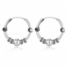 European Vintage Silver Color Hoop Earrings Circle  Handmade Cool Small Hoop Earring for Women Bijoux Fashion Jewelry 6