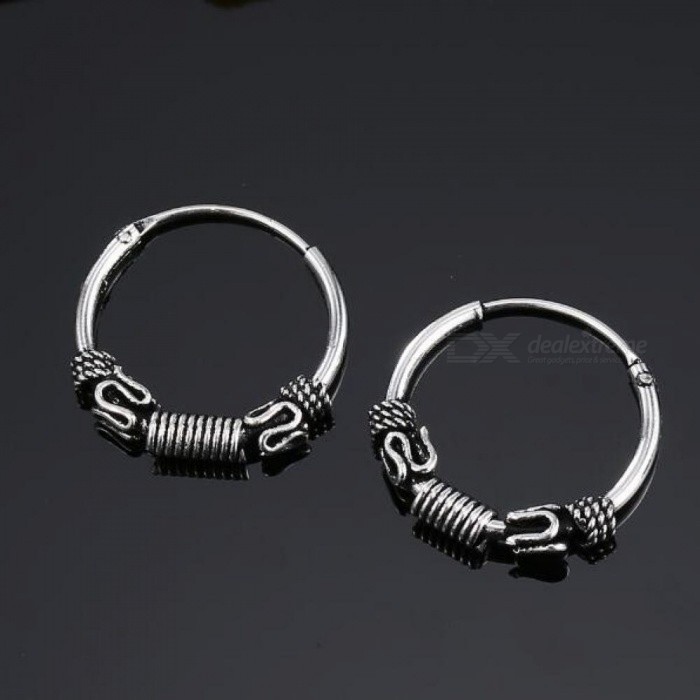 European Vintage Silver Color Hoop Earrings Circle  Handmade Cool Small Hoop Earring for Women Bijoux Fashion Jewelry