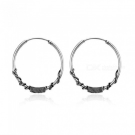 European Vintage Silver Color Hoop Earrings Circle  Handmade Cool 24mm Big Hoop Earring for Women Fashion Jewelry 5