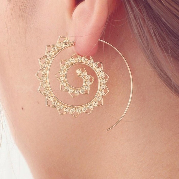Steampunk Round Swirl Hoop Earring For Women Gold Silver Tone Circle Earrings Party Accessories Ethnic Jewelry B