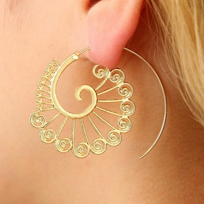Steampunk Round Swirl Hoop Earring for Women Gold Silver Tone Big Circle Earrings Party Accessories Ethnic Jewelry