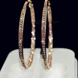 Popular Earrings with Rhinestone Circle Earrings Simple Earrings Big Circle Gold Color Hoop Earrings for Women gold-65mm