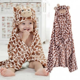 Giraffe Bear Shaped Baby Hooded Bathrobe Soft Infant Newborn Bath Towel Blanket Soft Practical Bath Towel for Baby  White