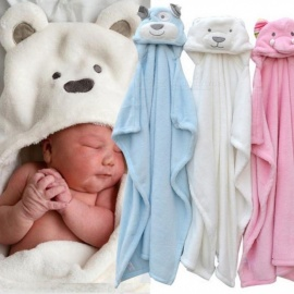 Cute Animal Shape Baby Hooded Bathrobe Bath Towel Baby Fleece Receiving Blanket Neonatal Hold to Be Children Kids Infant Bathing Pink Elephant