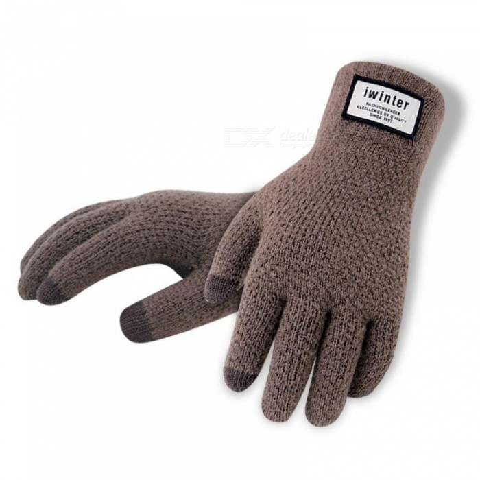Winter Autumn Men Knitted Gloves Touch Screen High Quality Male Thicken Warm Wool Cashmere Solid Gloves Men Mitten