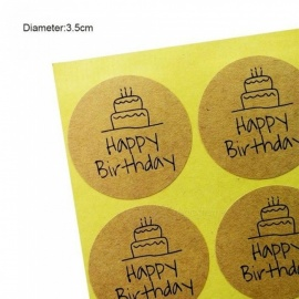 100 pcs/lot Happy Birthday Round Seal Sticker Kraft Paper Adhesive Stickers For Homemade Bakery & Gift Packaging Scrapbooking Birthday Stickers