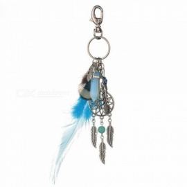 Bohemian Feather Jewelry Charm Silver Leaf KeyChain with Opal Stones Bullet Key Buckle for Women Keyring Silver Leaf Keychain