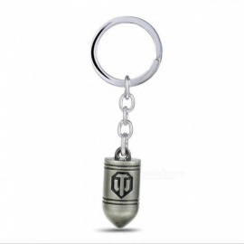 Game World of Tanks WOT Silver Coppery All Metal Bullet Symbol Keychain Dumitru Keychain Ring for Men's Gifts Gun Black