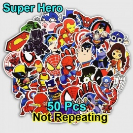 50 stks super hero cartoon sticker voor laptop bagage tassen bike telefoon auto styling cool stickers speelgoed doodle PVC creatieve decals super hero cartoon sticker