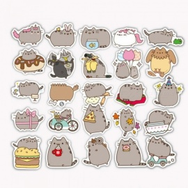 100 Pieces/lot Cartoon Pusheen Cat Cute Stickers for Tab Phone Laptop TV Fridge Bicycle PVC Waterproof Decal Toy Sticker Cute Cat Stickers
