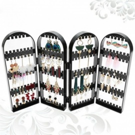 Jewelry Organizer Plastics Earring Storage Doors Nice Jewelry Hanging Holder Rack Acrylics Jewelry Display Stand Earrings Black Two Doors