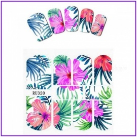Nail Sticker Water Decal Slider Flower Florid Jungle Green Leaves Pterpsaurus Bird Hot Summer Nail Stickers RU319