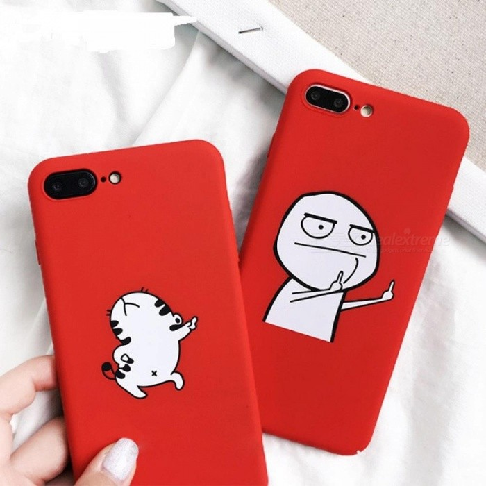 best service 9bddd 691c8 Funny Cartoon Phone Case For Iphone X Case For Iphone 7 8 Plus Cover  Dancing Cat Abstract Unicorn Middle Finger Cases For iphone 8/Style 400