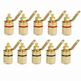 10pcs Gold Plated Audio Connector Terminal Mayitr Binding Post Speaker Amplifier 4mm Dia. Banana Plug Jack 25*11mm Gold
