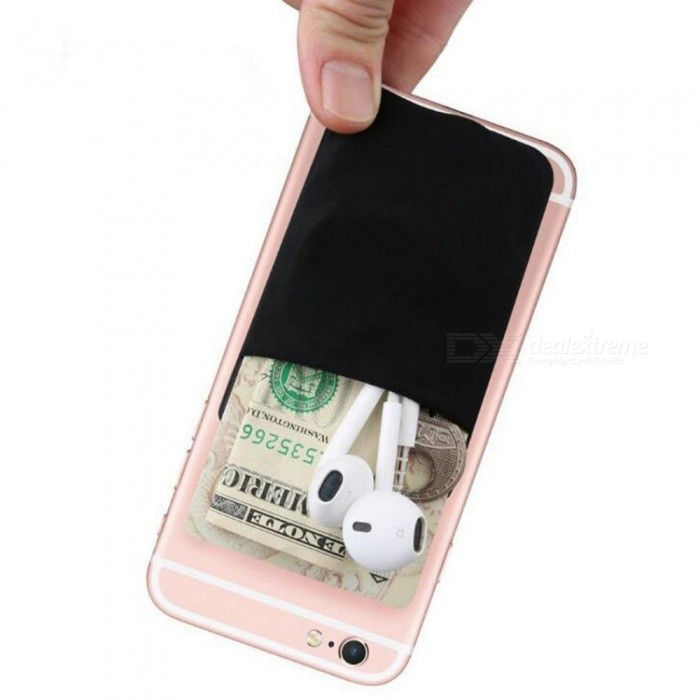 Fashion Creative Elastic Lycra Cell Phone Wallet Case Women Men Credit ID Card Holder Pocket Stick 3M Adhesive 9.9*5.5cm