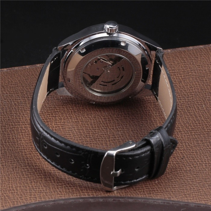 Winner Luxury Men Classic Date automatic Mechanical Watch Self-Winding Skeleton Black Leather/Stainless
