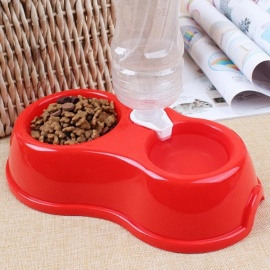 Pet Dog Cat Automatic Feeders Drinker Dogs Feeding Water Bottled Dispenser Plastic Auto Large Bowl Waterer  B90 26.5x15x8cm/Red