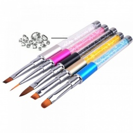 Nail Art Brush Pen Rhinestone Diamond Metal Acrylic Handle Carving Powder Painting Gel Brush Liquid Salon Liner Nail Brush New 7mm