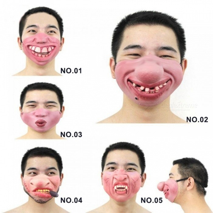 1PC Funny&Scary Of Half Face Clown Latex Masks For Cosplay Costume/ Halloween Party Decoration Supplies