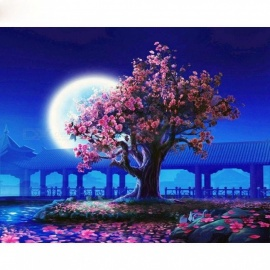 40x50cm Romantic Moon Night Landscape DIY Painting By Numbers Kits Modern Wall Art Picture Handpainted for Home Decor 40x50cm diy frame