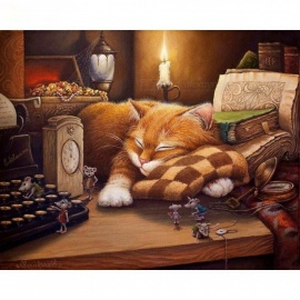 40x50cm Sleeping Cat DIY Painting By Numbers Wall Art Picture Home Decor Acrylic Paint By Numbers for Gift Frameless 40CMx50CM No Framed