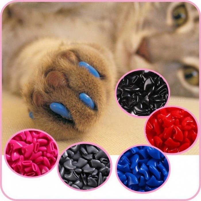 20pcs Soft Cat Nail Caps Cat Nail Cover Paw Claw Pet Silicon Nail Protector with Free Glue and Applicator