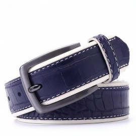 Men PU Crocodile Belts Faux Leather Alligator Pattern Designer Belt Black Dark Brown Dark Blue Grey Yellow Brown Color to Choose 95cm 30to33 Inch/Dark Brown