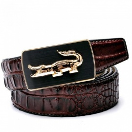 Fashion Crocodile Pattern Belt Luxury Alligator Automatic Buckle Men's Belts without Buckle Tooth On Strap Novelty Four Color 95cm 29to33 Inch/Black