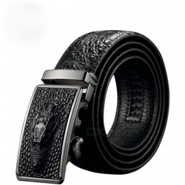 Luxury Cow Leather Belts for Men Good Alligator Pattern Automatic Buckle Men's Belt  Original Brand   110cm/black