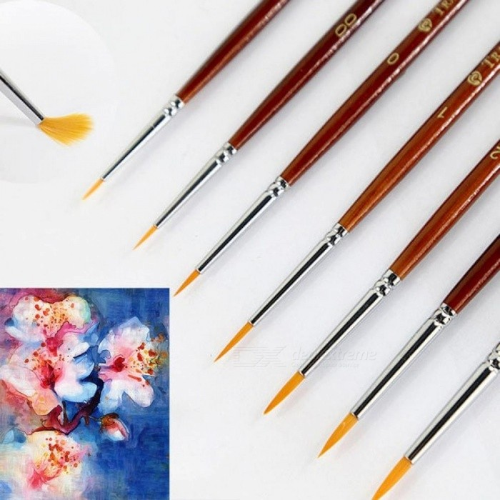 7pcs Professional Paint Brush Set Sable Hair Detail 7 Miniature