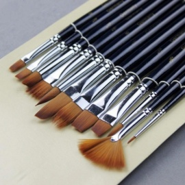 12pcs Variety Style Paint Brushes Set Short Handle Nylon Hair Painting Brush Oil Acrylic Brush Watercolor Pen Art Supplies 12pcs/set