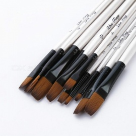 12/24pcs Nylon Hair Wooden Handle Watercolor Paint Brush Pen Set for Learning Oil Acrylic Painting Art Paint Brushes Supplies 12Pcs white steeple