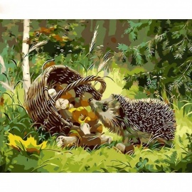 40x50cm DIY Painting By Numbers Hedgehog Animals Modern Wall Art Picture Hand Painted Oil Painting On Canvas for Gift 40CMx50CM  No Framed