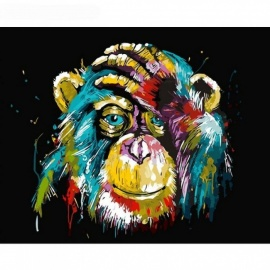 Baboon Animal DIY Painting By Number Wall Art Picture Paint By Number Canvas Painting for Home Decor Artwork Frameless 40CMx50CM  No Framed