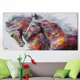 Animal Wall Art Pictures for Living Room Home Decor Canvas Painting The Two Running Horse No Frame    8X16