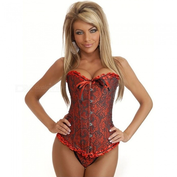 a8a38ff5ed1 ... S~6XL Women Sexy Satin Corset Brocade Floral Bustier Top Lace Up Back  Lingerie Bodyshaper ...