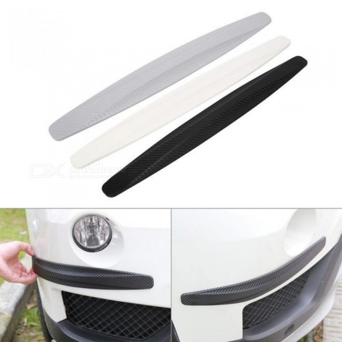 1 Pair Carbon Fiber Front & Rear Bumper Protector Corner Guard Scratch Sticker Protection Black White Gray