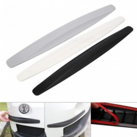 1 Pair Carbon Fiber Front & Rear Bumper Protector Corner Guard Scratch Sticker Protection Black White Gray White
