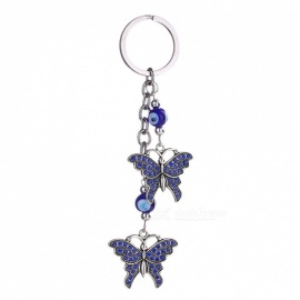 Valentine's Day New Trendy Evil Eye Keychains Cute Animal Crystal Butterfly Keychain Keyring Car Accessories Tower/Tower
