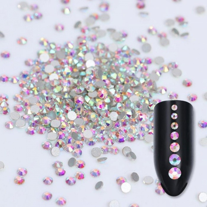 1440pcs/pack Crystal Clear AB Non-Hotfix Flatback Rhinestones Nail Rhinestones for Nails 3D Nail Art Decoration Gems Mix Sizes