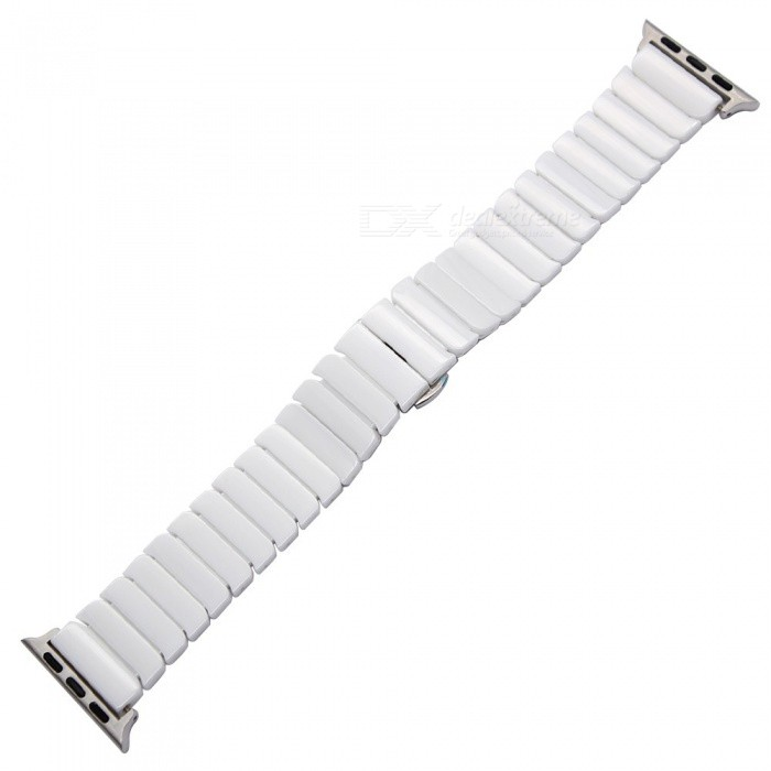 Glossy Ceramic Watchband +Tool For IWatch Apple Watch 38mm 42mm Wrist Band Link Strap Butterfly Clasp Wrist Bracelet Black White