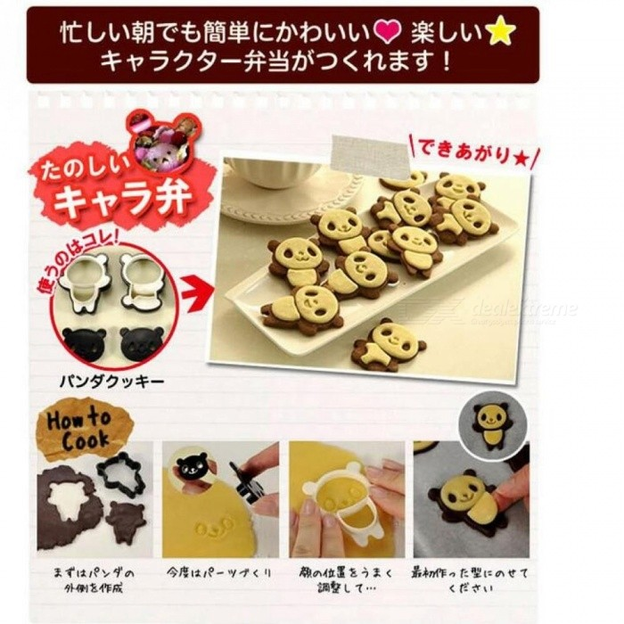 Hand Cartoon Panda Cookies Cutter Stamp Rvs Biscuit Mould Set Baking ...