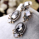 Black Crystal Dangle Earrings for Women Wedding Party Bridal Accessories Trendy Long Fashion Jewelry Holiday Earring eh872