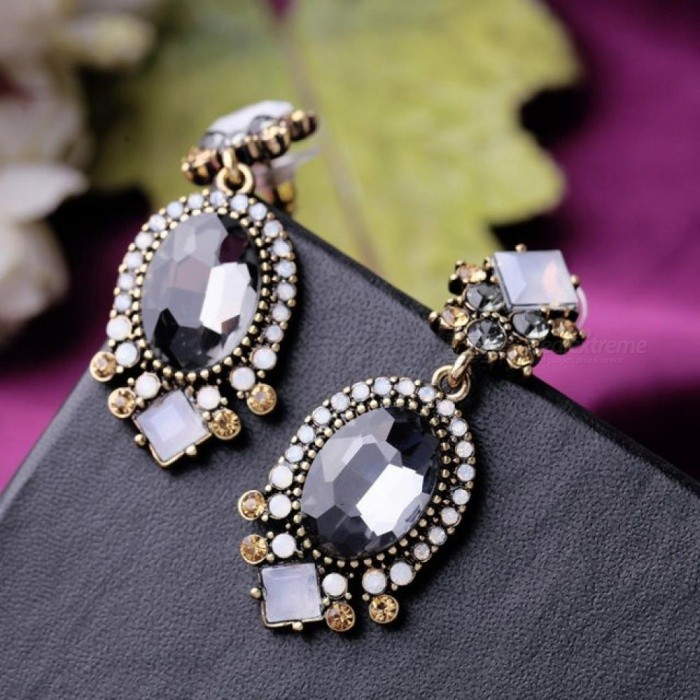 84a69fe78 Black Crystal Dangle Earrings for Women Wedding Party Bridal Accessories  Trendy Long Fashion Jewelry Holiday Earring