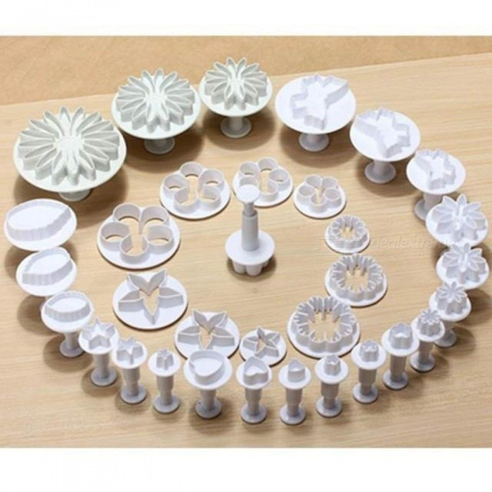 33pcs/set Sugarcraft Cake Decorating Fondant Plunger Cutters Cake Tools Cookie Biscuit Cake Mold Baking Accessories